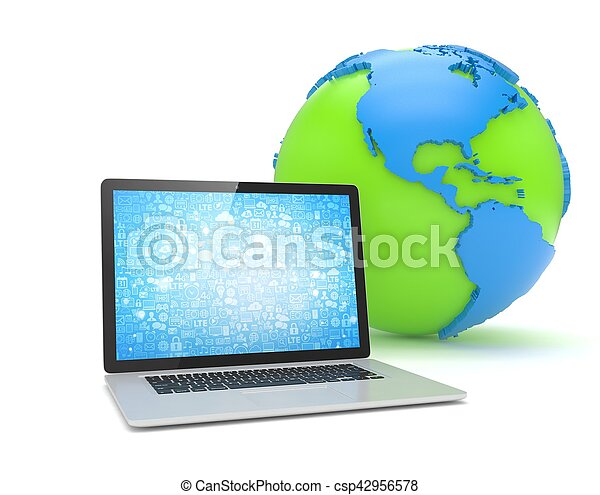 Laptop network and earth globe. 3d render - csp42956578