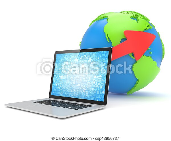 Laptop network and earth globe. 3d render - csp42956727