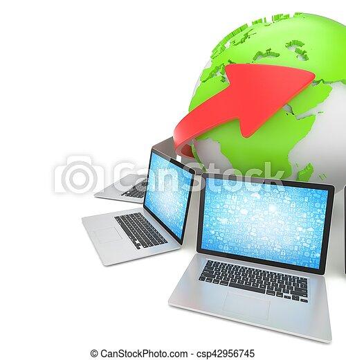 Laptop network around earth globe. 3d render - csp42956745