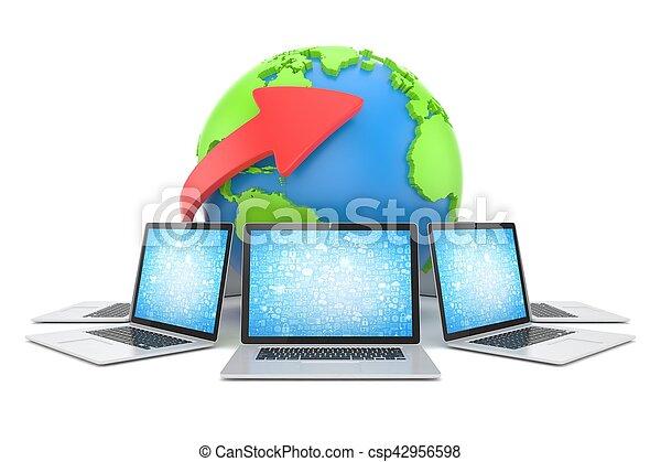 Laptop network around earth globe. 3d render - csp42956598