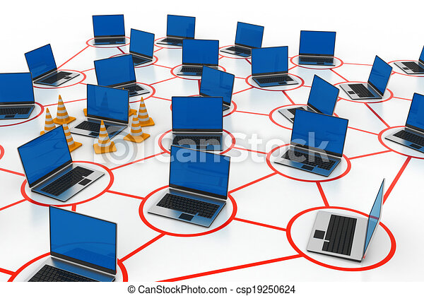 laptop network with traffic cone - csp19250624