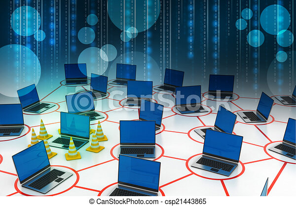 laptop network with traffic cone - csp21443865