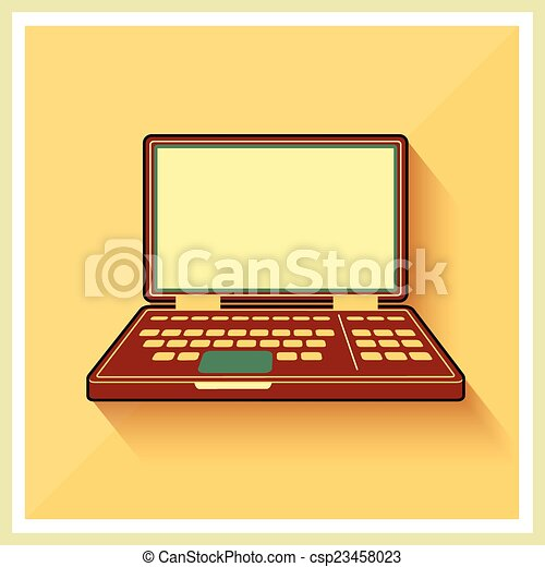 laptop notebook personal computer flat vintage icon vector laptop