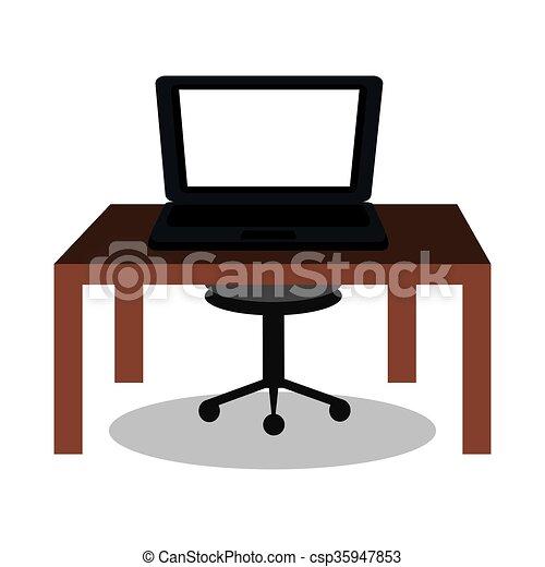 laptop on desk design  - csp35947853