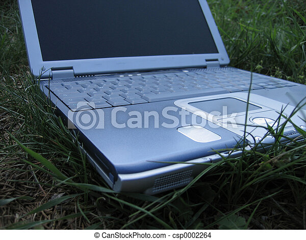 laptop on grass - csp0002264
