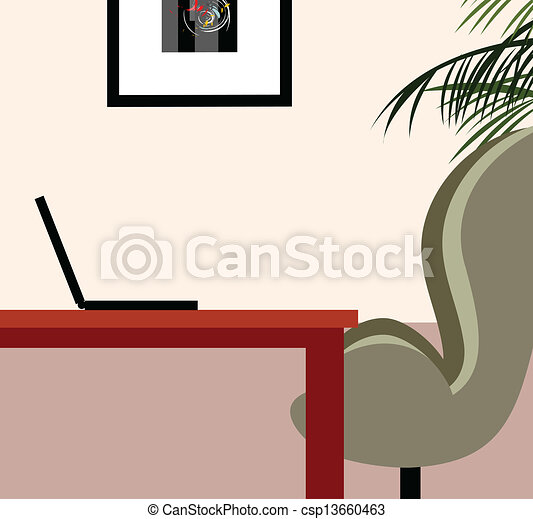 Laptop on living room table - csp13660463