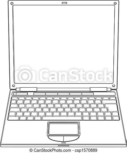Laptop outline vector illustration - csp1570889
