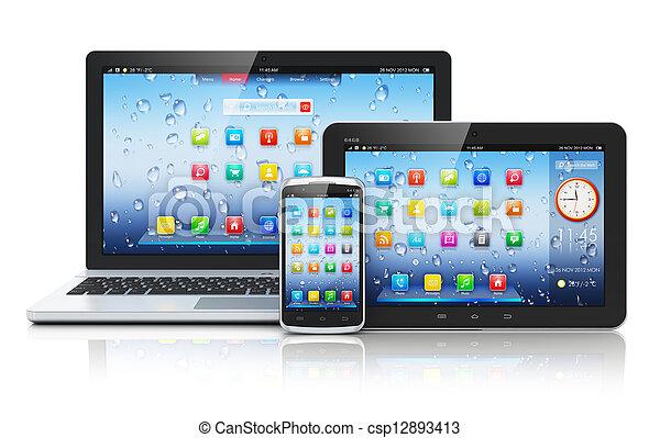 laptop, pastylka pc, smartphone - csp12893413
