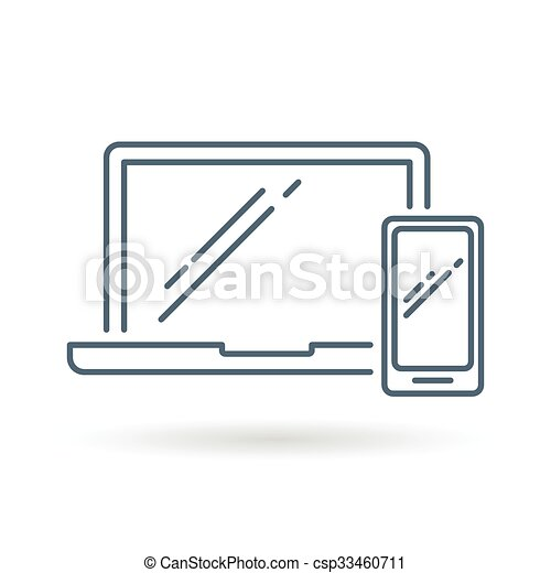 Laptop Phone Icon White Background Laptop And Smartphone Icon