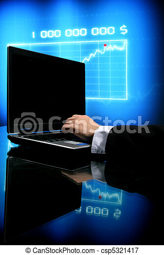 laptop, praca, finanse - csp5321417