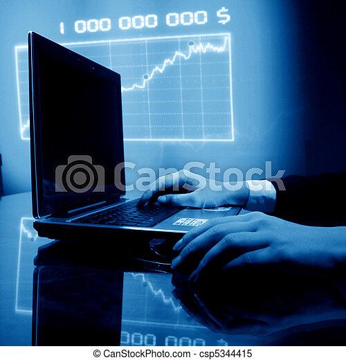 laptop, praca, finanse - csp5344415