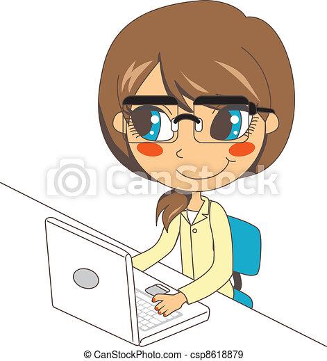 laptop, pracujący, sekretarka - csp8618879