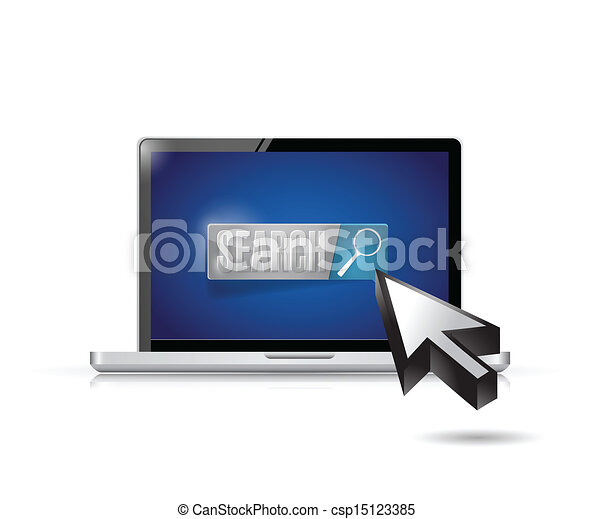 laptop search button and cursor illustration - csp15123385
