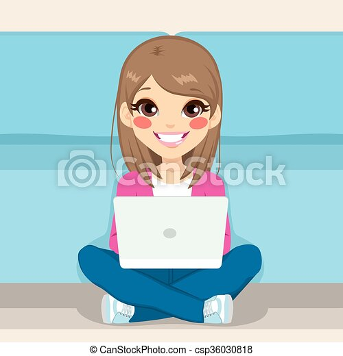 laptop, seduta, adolescente, pavimento - csp36030818