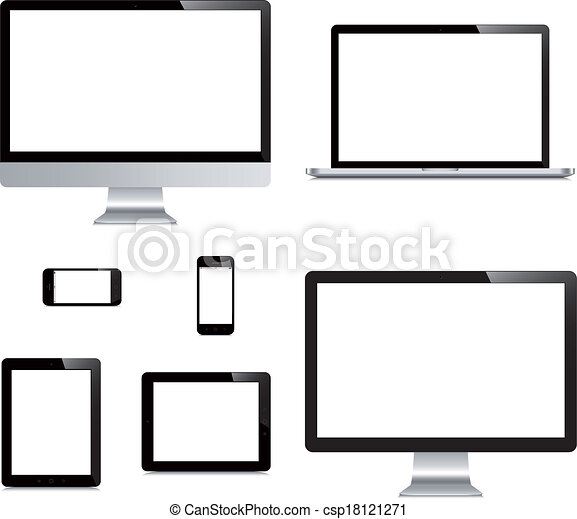 laptop, smartphone, tablet, computer, display isolated on white background - csp18121271