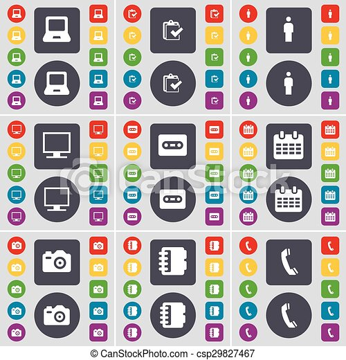 Laptop, Survey, Silhouette, Monitor, Cassette, Calendar, Camera, icon symbol. A large set of flat, colored buttons for your design. Vector - csp29827467