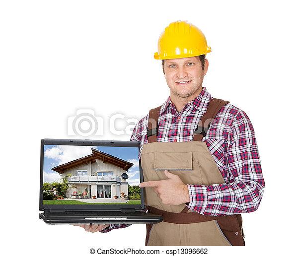 laptop, szerkesztés munkás, átnyújtás - csp13096662