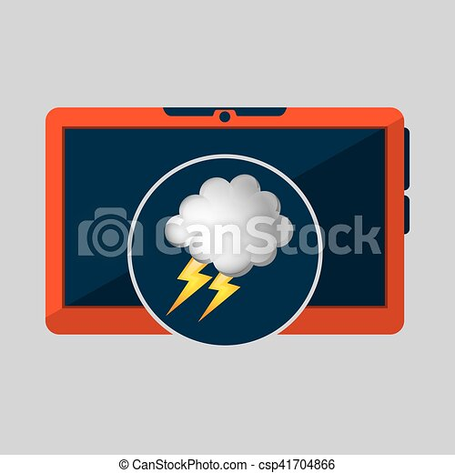 laptop technology. weather forecast cloud lightning icon graphic - csp41704866