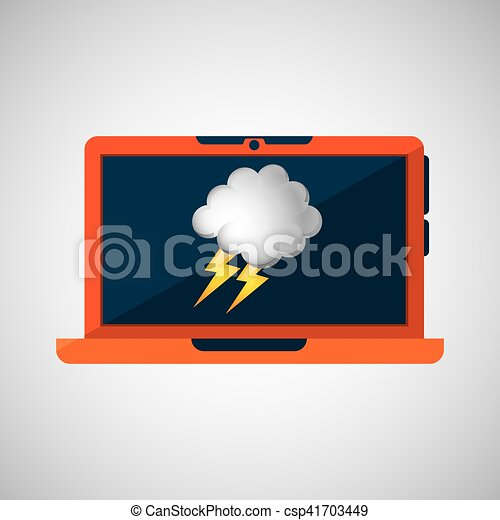 laptop technology. weather forecast cloud lightning icon graphic - csp41703449