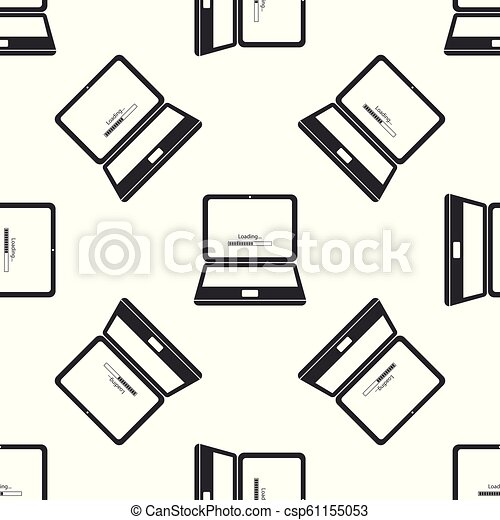 Laptop update process with loading bar icon seamless pattern on white  background  System software update  Loading process in laptop screen  Flat