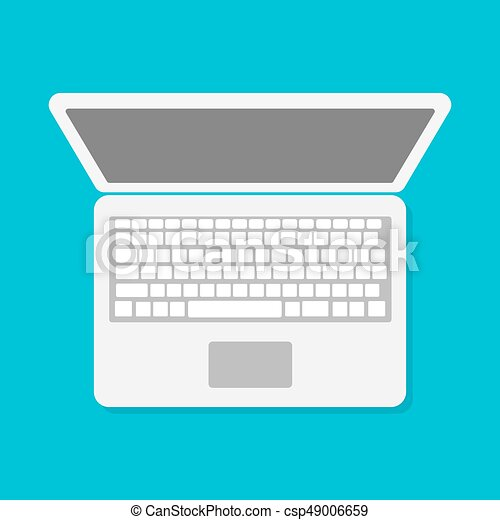 Laptop, vector. Wohnung, 10, laptop, eps, abbildung, vector., ikone.
