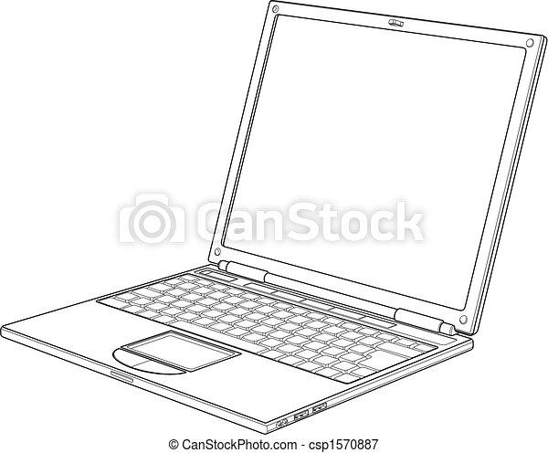 laptop, vetorial, esboço, ilustração - csp1570887