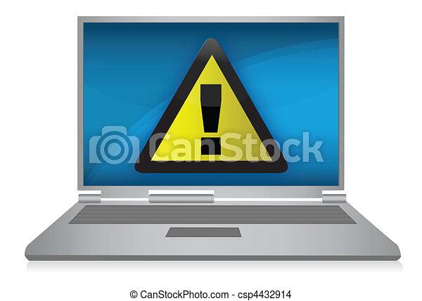 Laptop Warning sign / vector - csp4432914