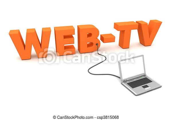 Laptop Wired to Orange WebTV - csp3815068