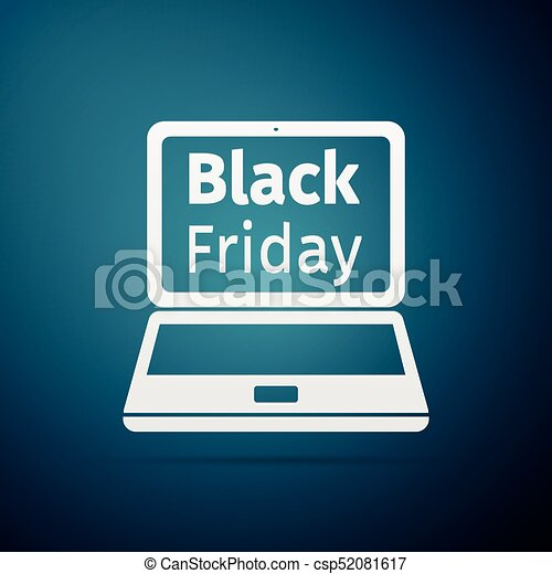 Laptop with Black Friday Sale on screen flat icon over blue background. Vector Illustration - csp52081617