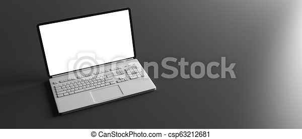 Laptop with blank screen isolated on black background. 3d illustration - csp63212681