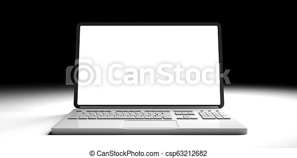 Laptop with blank screen isolated on white and black background. 3d illustration - csp63212682
