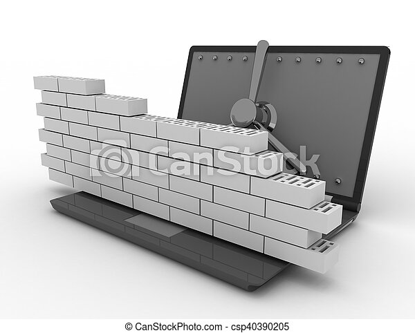 Laptop with combination Lock and brick wall. Firewall concept. - csp40390205