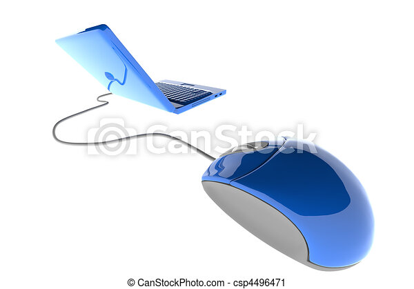 Line Drawing Mouse : Laptop with mouse. 3d image of blue computer clipart