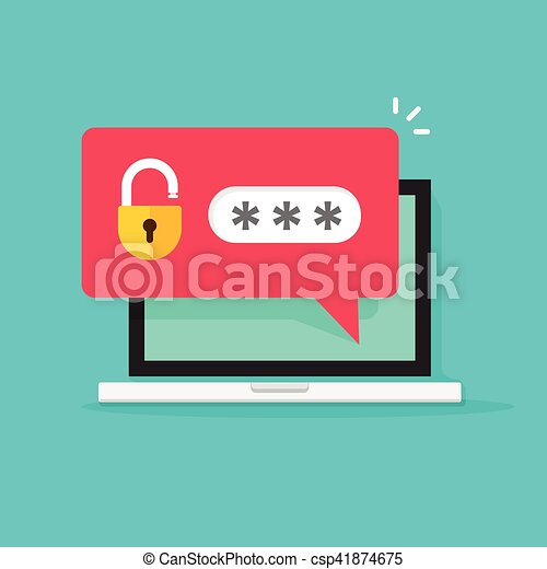 Laptop with password notification, concept of security, personal access, protection - csp41874675
