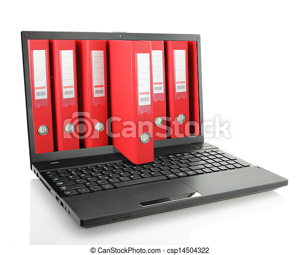 Laptop with red ring binders  - csp14504322