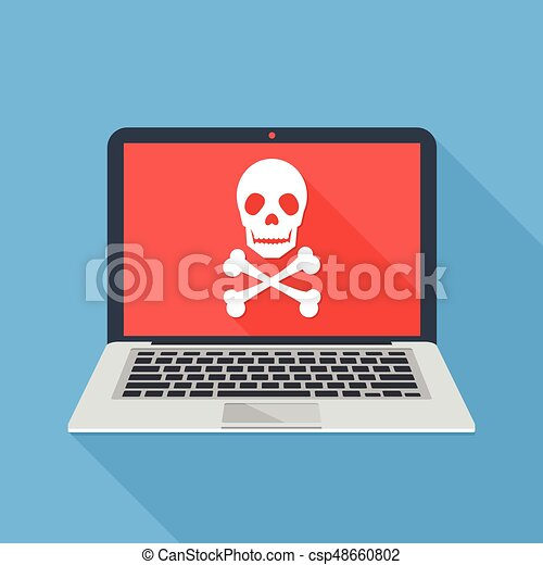 Laptop with skull and crossbones. Modern notebook and skull icon. Virus attack, ransomware, malicious software, hacker attack concepts. Long shadow design. Modern flat design vector illustration - csp48660802