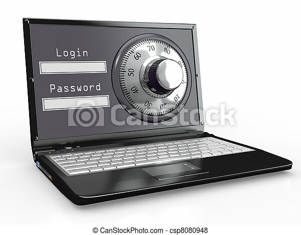Laptop with steel security lock. Password - csp8080948
