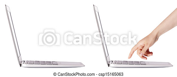 laptop with woman hand isolated - csp15165063