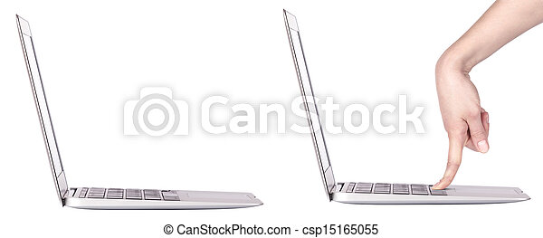 laptop with woman hand isolated - csp15165055
