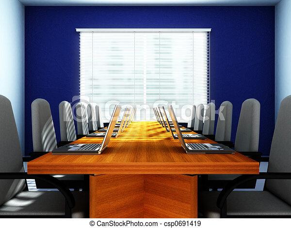 Laptops in an empty room - csp0691419
