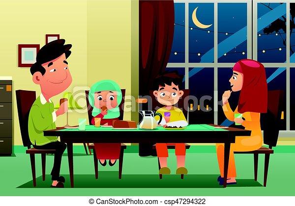 lar, jantar, muçulmano, comer, família - csp47294322