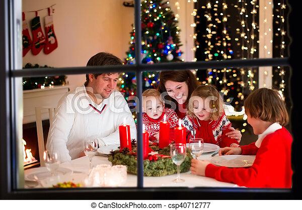 lar, jantar, natal, família - csp40712777