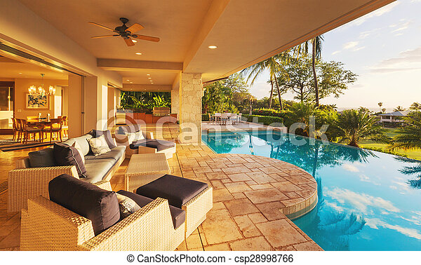 lar, pôr do sol, luxo, piscina - csp28998766