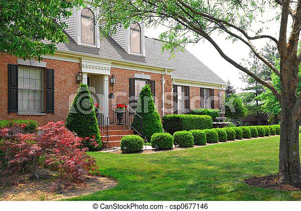 lar, residencial, história, tijolo, dois - csp0677146