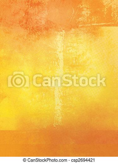 laranja, amarela, grunge, fundo - csp2694421