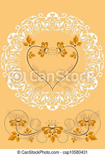laranja, openwork, quadro, flores - csp10580431