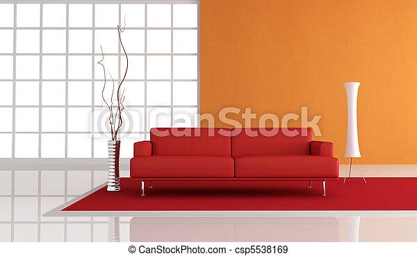 laranja, sala de estar, vermelho - csp5538169