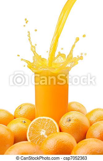 laranja, suco derramando - csp7052363
