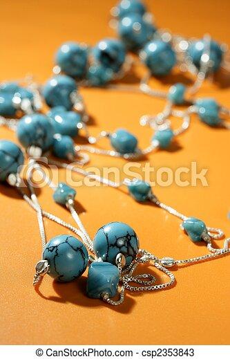 laranja, turquesa, sobre, fundo, colares - csp2353843
