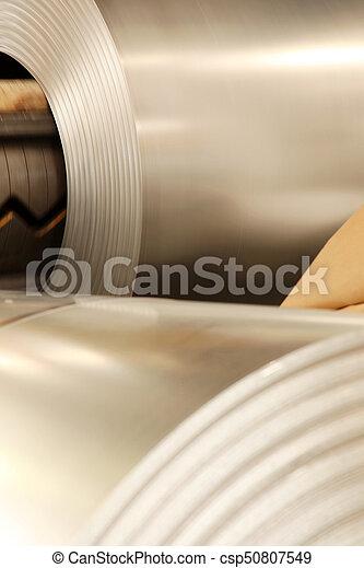 Large aluminium steel rolls in the factory - csp50807549